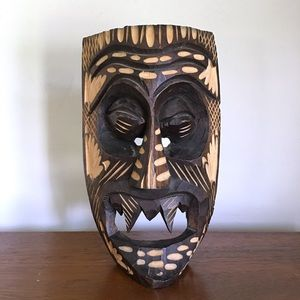 Wooden Carved Tiki Mask Fangs Free Standing